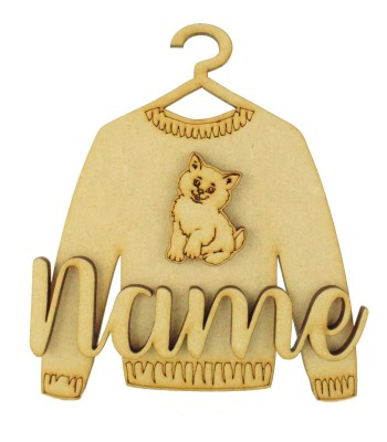 Laser Cut Personalised 3D Christmas Jumper Decoration - Cat