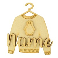 Laser Cut Personalised 3D Christmas Jumper Decoration - Penguin