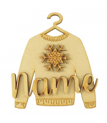 Laser Cut Personalised 3D Christmas Jumper Decoration - Snowflake