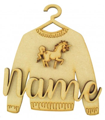 Laser Cut Personalised 3D Christmas Jumper Decoration - Unicorn