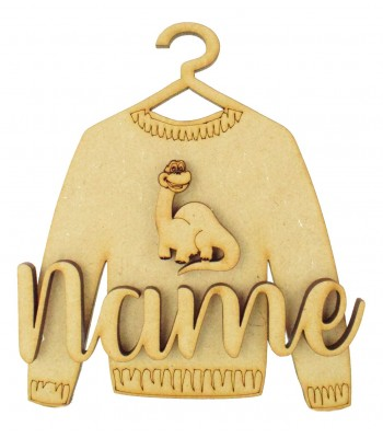 Laser Cut Personalised 3D Christmas Jumper Decoration - Dinosaur