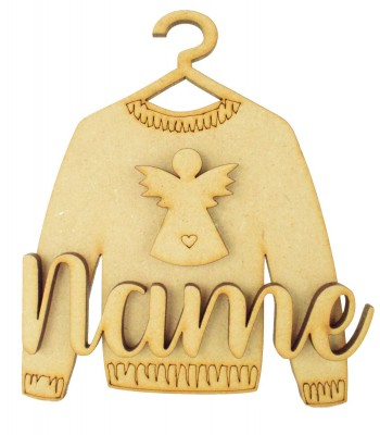 Laser Cut Personalised 3D Christmas Jumper Decoration - Angel