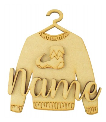 Laser Cut Personalised 3D Christmas Jumper Decoration - Elf Shoe