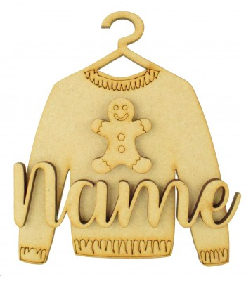 Laser Cut Personalised 3D Christmas Jumper Decoration - Gingerbread Man