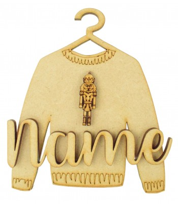 Laser Cut Personalised 3D Christmas Jumper Decoration - Nut Cracker