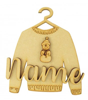 Laser Cut Personalised 3D Christmas Jumper Decoration - Snowman