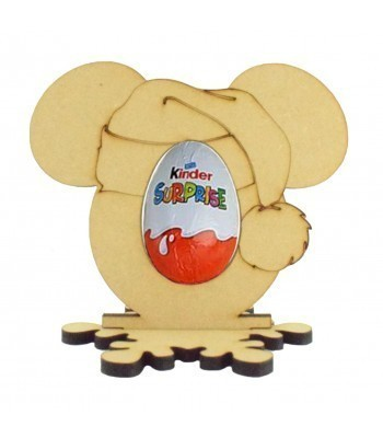 6mm Santa Mouse Head Kinder Egg Holder on a Snowflake Shape Stand