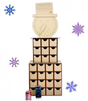 Laser Cut Super sized Snowman Advent Calendar Drawers - 25 Drawers
