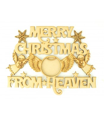 Laser cut 'Merry Christmas From Heaven' Quote Sign With Angel Wings Photo Frame