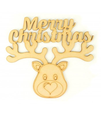 Laser cut 'Merry Christmas' Quote Sign with Reindeer Head
