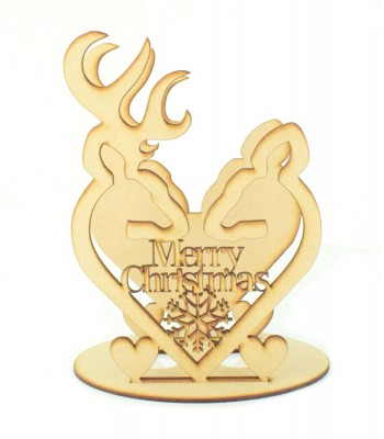 Laser Cut 'Merry Christmas' Stag & Deer Head Heart Tealight Holder