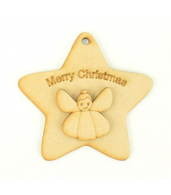Laser Cut 'Merry Christmas' Star Decoration with Angel Shape