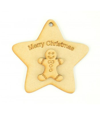 Laser Cut 'Merry Christmas' Star Decoration with Gingerbread Shape