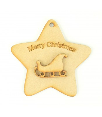 Laser Cut 'Merry Christmas' Star Decoration with Sleigh Shape