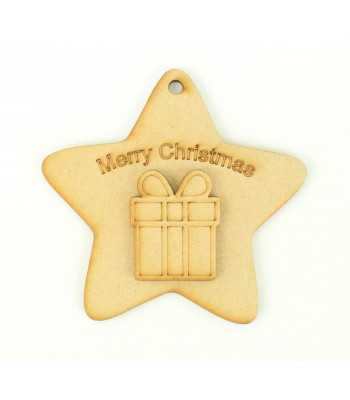 Laser Cut 'Merry Christmas' Star Decoration with Present Shape