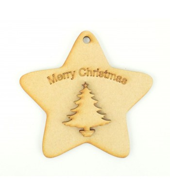 Laser Cut 'Merry Christmas' Star Decoration with Christmas Tree Shape