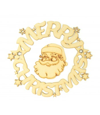 Laser Cut 'Merry Christmas' Wreath with hanging santa head in the center
