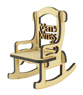 Laser cut 6mm 'Merry Christmas' Rocking Chair