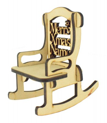 Laser cut 6mm Personalised 'Merry Christmas' Rocking Chair