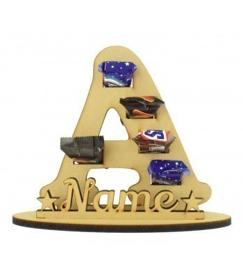 6mm Personalised Plain Letter Mini Chocolate Bar Holder on a Stand - Stand Options