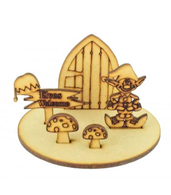 Laser Cut Miniature Detailed Christmas Elf Scene on stand