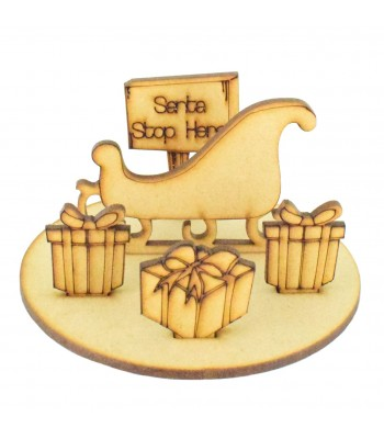 Laser Cut Miniature Detailed Christmas Santa Sleigh Scene on stand
