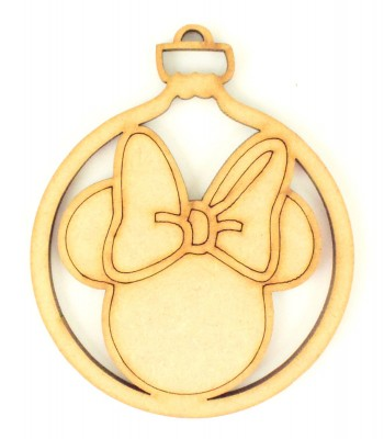 Laser Cut Mouse Head with Bow Christmas Bauble