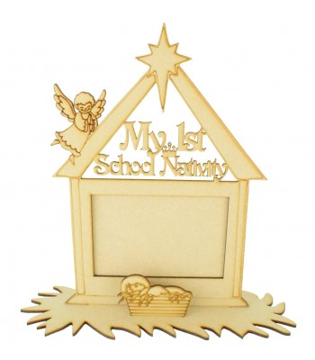 Laser cut 'My 1st School Nativity' Photo Frame on a stand