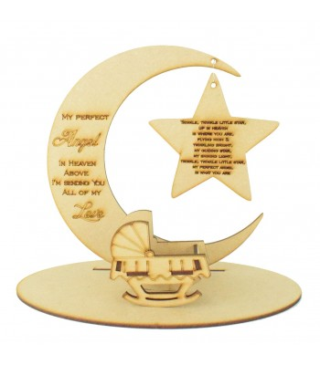 Laser Cut 'My Perfect Angel In Heaven Above' Moon Plaque in a Stand with Hanging Star and a Miniature Baby Crib