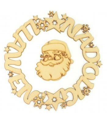 Laser Cut 'Nadolig Llawen' Welsh Christmas Wreath with hanging santa head in the center