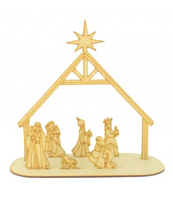 Laser Cut 3D Etched Nativity Scene on stand