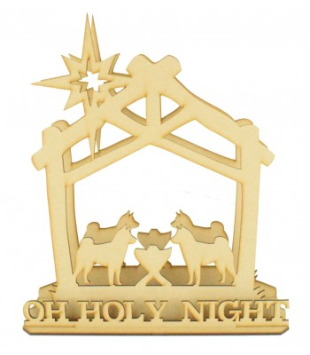 Laser Cut 'OH HOLY NIGHT' 3D Dog's Nativity Scene Tea Light Holder on stand