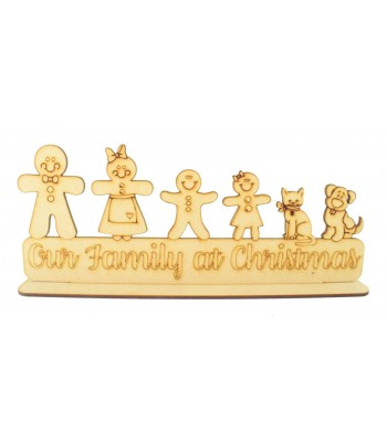 Laser Cut Personalised 'Our Family at Christmas' Gingerbread Family on a stand