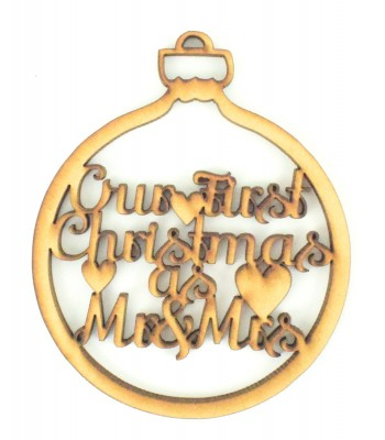 Laser Cut 'Our First Christmas as Mr & Mrs' Christmas Bauble