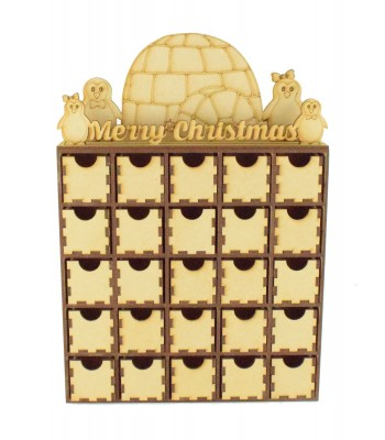 Laser Cut Penguin Scene Advent Calendar Drawers - 25 Drawers
