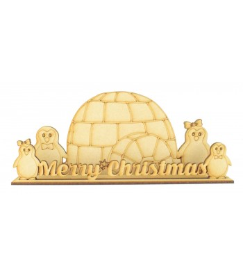 Laser cut Penguin Family 'Merry Christmas' Scene on a Stand