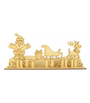 Laser cut Personalised Santa and Rudolph Christmas Scene on a Stand