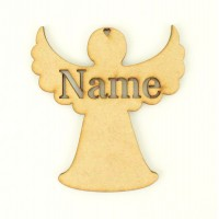 Laser Cut Personalised Christmas Angel Decoration - 100mm Size - Stencil Font
