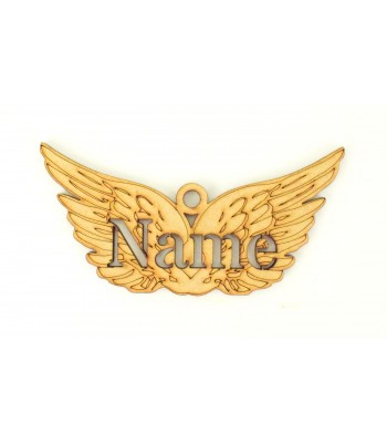 Laser Cut Personalised Christmas Angel Wings Bauble - 100mm Size - Stencil Font