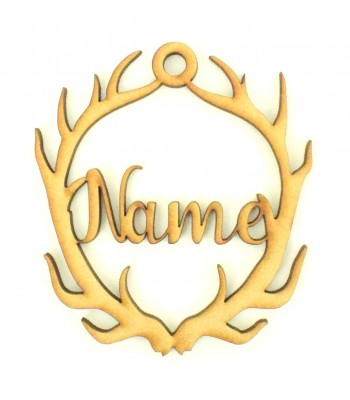 Laser Cut Personalised Antlers Decoration - 100mm Size