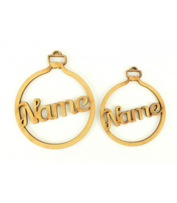 Laser Cut Personalised Small Bauble - 80mm Size