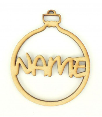 Laser Cut Personalised Christmas Bauble - 100mm Size - Disney Font