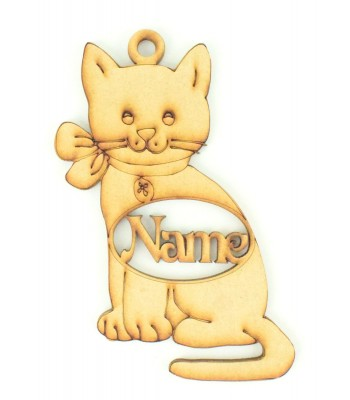 Laser Cut Personalised Cat Shape Bauble - 130mm Size