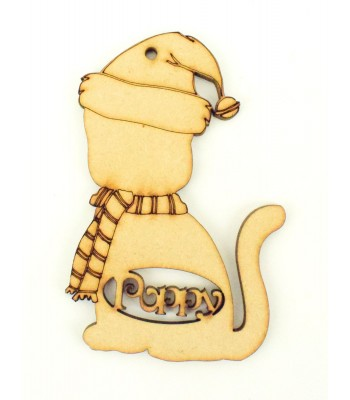 Laser Cut Personalised Cat Shape Bauble with Hat & Scarf - 100mm Size