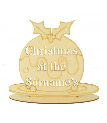 Laser Cut Personalised 'Christmas At The...' Stencil Christmas Pudding on a Stand - S Stencil