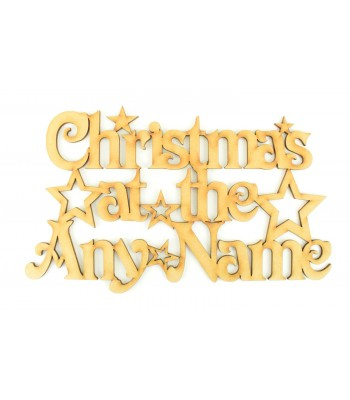 Laser Cut Personalised 'Christmas At The...' Sign with Stars (Vic Font)