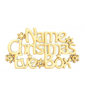 Laser cut Personalised 'Christmas Eve Box' Sign with Snowflakes and Stars