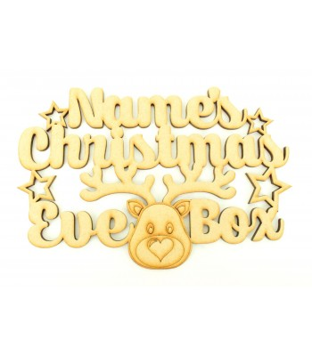 Laser cut Personalised 'Christmas Eve Box' Sign with Stars and Cute Reindeer Head