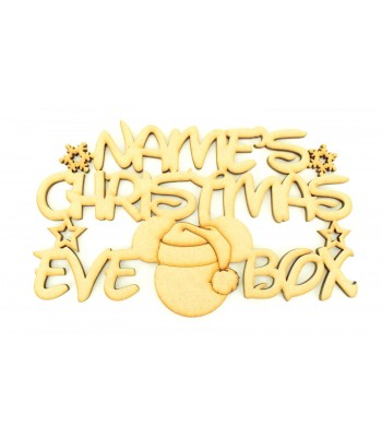 Laser cut Personalised 'Christmas Eve Box' Sign with Snowflakes, Stars and Santa Mouse