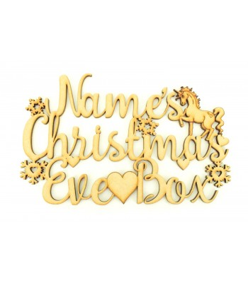 Laser cut Personalised 'Christmas Eve Box' Sign with Snowflakes, Hearts and Unicorn